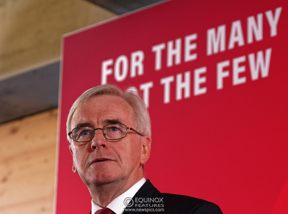 London, United Kingdom - 9 December 2019<br /> John McDonnell gives an economics speech in the run up to the general election 2019, on behalf of the Labour Party at Coin Street Community Builders, London, England, UK.<br /> (photo by: EQUINOXFEATURES.COM)<br /> Picture Data:<br /> Photographer: Equinox Features<br /> Copyright: ©2019 Equinox Licensing Ltd. +443700 780000<br /> Contact: Equinox Features<br /> Date Taken: 20191209<br /> Time Taken: 11194048<br /> www.newspics.com
