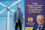 Roger Helmer, the UKIP candidate, campaigning in the village of Aversham for the Newark By Election,  2014. The election was called as a result of the resignation of Tory MP Patrick Mercer who was suspended from the Commons as a result of allegations hat he had accepted payment for asking parliamentary questions.