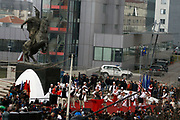 """MANIFESTATION """"KLA EPOPEE"""" KICKS OFF<br /> <br /> Pristina, Kosovo<br /> Wednesday, March 5, 2008<br /> <br /> On the tenth anniversary of the fall of the Kosovo Liberation Army Legendary Commander, Adem Jashari and all nation's martyrs, on Wednesday kicked off the traditional manifestation on the Center of Kosovo Capitol Pristina, on front of Kosovo government building respectively on """"Georgiou's Castrioti Scanderbeg"""" square.<br /> In a spectacular show, Kosovo Protection Corps (KPC) organize a big military parade, in front of more than 5 hundred Kosovo Albanian citizens, which parade where followed also at the presence of Kosovo Prime Minister Mr.Hashim THAÇI, Kosovo President Dr.Fatmir SEJDIU, President of Kosovo Assembly-room Mr.Jakup KRASNIQI and other political and cultural representatives.<br /> PICTURED: <br /> View of Scanderbeg square in Pristina, during celebration<br /> VEDAT xhymshiti/ZUMApress<br /> PhotoJOURNALIST"""