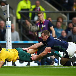 LONDON, ENGLAND - OCTOBER 18: Adam Ashley-Cooper of Australia during the Rugby World Cup Quarter Final match between Australia v Scotland at Twickenham Stadium on October 18, 2015 in London, England. (Photo by Steve Haag)