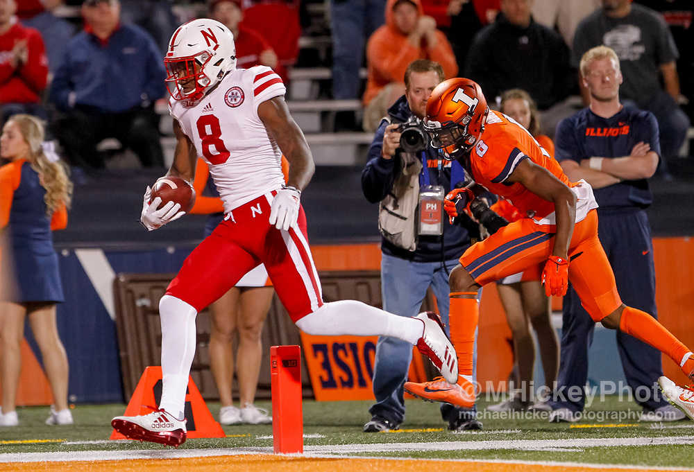 CHAMPAIGN, IL - SEPTEMBER 29: Stanley Morgan Jr. #8 of the Nebraska Cornhuskers runs the ball into the end zone as Nate Hobbs #8 of the Illinois Fighting Illini tries to make the stop at Memorial Stadium on September 29, 2017 in Champaign, Illinois. (Photo by Michael Hickey/Getty Images) *** Local Caption *** Stanley Morgan Jr.; Nate Hobbs