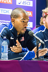 London, 03 August 2017. Christian Taylor, Two-time Olympic triple jump champion, two-time World champion & 2017 world leader at Team USATF press conference ahead of the IAAF World Championships London 2017 at the London Stadium.