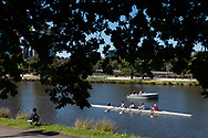 A four crew and their coach are seen on the Yarra during the 35th day of zero COVID-19 cases in Victoria, Australia. School and community sport is ramping up and as the weather improves, more people are venturing out and about to enjoy this great city. Pressure is mounting on Premier Daniel Andrews to keep his promise of removing all remaining restrictions. (Photo by Dave Hewison/Speed Media)