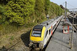 April 25, 2018 - Dinant, NAMUR, BELGIUM - SNCB train en gare de Dinant   .Belgian Railway train in the Dinant Station 25/04/2018 (Credit Image: © Jean-Marc Quinet/Belga via ZUMA Press)