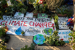 London, UK. 20th April 2019. Waterloo bridge has been blocked by climate change campaigners from Extinction Rebellion for six days. During that time, they have created a Garden bridge used for International Rebellion activities to demand urgent action to combat climate change by the British government.