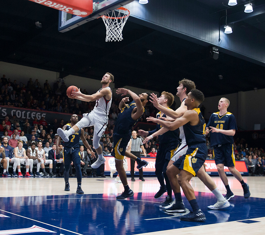 Nov 28 2018  Moraga CA, U.S.A.  St. Mary's guard Jordan Ford (3) drive to the hoop during the NCAA  Men's Basketball game between UC Irvine Anteaters and the Saint Mary's Gaels 75-80 lost at McKeon Pavilion Moraga Calif. Thurman James / CSM