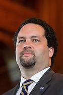 Ben Jealous. head of NAACP, speaks during a ceremony honoring Medgar Evers at in the chapel at Tougaloo College on May 16, 2013
