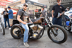 Bobber: No. 015 / Steve Hernandez' custom 1985 Harley-Davidson that won the Bobber class in the Dennis Kirk Garage Build bike show at the Iron Horse Saloon during the Sturgis Motorcycle Rally. SD, USA. Tuesday, August 10, 2021. Photography ©2021 Michael Lichter.Dennis Kirk Garage Build bike show at the Iron Horse Saloon during the Sturgis Motorcycle Rally. SD, USA. Tuesday, August 10, 2021. Photography ©2021 Michael Lichter.