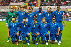 SWANSEA, ENGLAND - Friday, September 4, 2009: Italy's players line up for a group team photograph before the UEFA Under 21 Championship Qualifying Group 3 match against Wales at the Liberty Stadium. Back Left to Right, Vincenzo Fiorilla, Gabriele Angella, Lorenzo Ariaudo, Mario Balotelli, Guiseppe Bellusci, Andrea Ranocchia, Front Left to Right, Roberton Soriano, Andrea Poli, Alberto Paloschi, Antonino Barilla, Tommaso Bianchi (Photo by Gareth Davies/Propaganda)