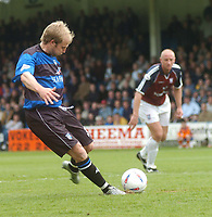 SPORTSBEAT IMAGES 01494 783165<br /> PICTURE ADY KERRY .<br /> GILLINGHAM VS IPSWICH TOWN<br /> GILLINGHAM'S JOHN HILLS SCORES THE OPENING GOAL FROM THE PENALTYB SPOT., 17TH APRIL 2004.