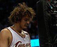 MORNING JOURNAL/DAVID RICHARD.Anderson Varejao looks down after fouling out last night against the Pistons.