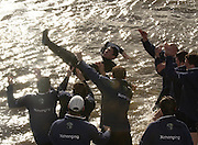 Putney, London, ENGLAND, 02.04.2006, Oxford throw in cox Seb Pearce, 2006, Varsity, Boat Race, Oxford vs Cambridge,  © Peter Spurrier/Intersport-images.com.[Mandatory Credit Peter Spurrier/ Intersport Images] 2006, Varsity Boat Race,  Varsity, Boat race. Rowing Course: River Thames, Championship course, Putney to Mortlake 4.25 Miles