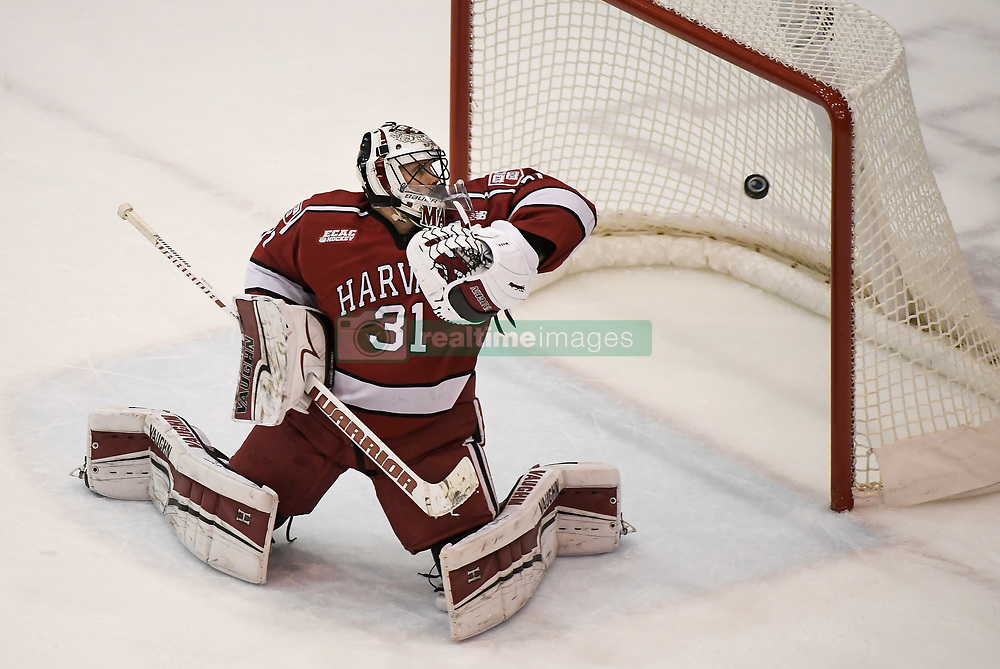 November 17, 2017 - Minneapolis, MN, USA - A shot by Minnesota Golden Gophers forward Casey Mittelstadt (21) makes it past Harvard Crimson goalie Merrick Madsen (31) for a goal in the second period on Friday, Nov. 17, 2017, at the 3M Arena at Mariucci in Minneapolis. (Credit Image: © Aaron Lavinsky/TNS via ZUMA Wire)