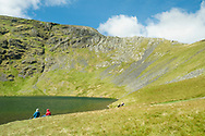 The beautiful Scales Tarn - a lovely place to stop and admire the challenging Sharp Edge from below