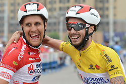 September 13, 2016 - Pingchang, China - The race Leader Raffaello Bonusi (Right) and Mattia De Marchi after they finished the fourth stage, 157.57 km from Bazhong to Pingchang, during the 2016 Tour of China 1...On Tuesday, 13 September 2016, in Pingchang, China. (Credit Image: © Artur Widak/NurPhoto via ZUMA Press)