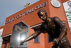 Statue of Jimmy Johnstonel outside Celtic Park home of Celtic Football Club in Parkhead , Glasgow, Scotland, United Kingdom