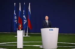MOSCOW, June 13, 2018  Russian President Vladimir Putin delivers a speech at the 68th FIFA Congress in Moscow, Russia, on June 13, 2018. The 68th FIFA Congress opened here on Wednesday, one day before the first match of the 2018 World Cup in Russia kicked off. (Credit Image: © Xu Zijian/Xinhua via ZUMA Wire)