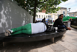 3 June 2017 - UEFA Champions League Final - Juventus v Real Madrid - A Real Madrid fan asleep on a bench in the City centre - Photo: Marc Atkins / Offside.