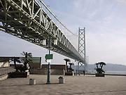 Japan, Honshu, Kobe The Akashi Kaikyo bridge connecting Kobe and Awaji Island is longest suspended span bridge in the world