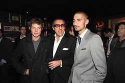 Left to right, COUNT NIKOLAI VON BISMARCK, BROOSK SAIB and HUGO TAYLOR at the Tatler Magazine Little Black Book party at Tramp, 40 Jermyn Street, London SW1 on 5th November 2008.