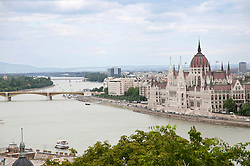 View of Hungarian Parliament Building at Danube River, Budapest, Hungary
