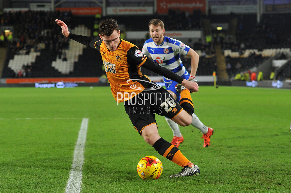 Hull City defender Andrew Robertson under attack from Michael Hector Reading FC  during the Sky Bet Championship match between Hull City and Reading at the KC Stadium, Kingston upon Hull, England on 16 December 2015. Photo by Ian Lyall.