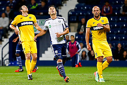 Jason Davidson of West Brom looks dejected as his shot goes wide on the verge of extra time in the match - Photo mandatory by-line: Rogan Thomson/JMP - 07966 386802 - 26/08/2014 - SPORT - FOOTBALL - The Hawthorns, West Bromwich - West Bromwich Albion v Oxford United - Capital One Cup Round 2.