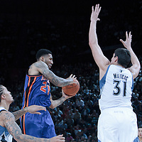06 October 2010: New York Knicks forward Wilson Chandler #21 passes the ball around Minnesota Timberwolves center Darko Milicic #31 during the Minnesota Timberwolves 106-100 victory over the New York Knicks, during 2010 NBA Europe Live, at the POPB Arena in Paris, France.