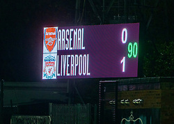 LONDON, ENGLAND - Friday, October 30, 2020: The scoreboard during the Premier League 2 Division 1 match between Arsenal FC Under-23's and Liverpool FC Under-23's at Meadow Park. Liverpool won 1-0. (Pic by David Rawcliffe/Propaganda)