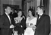 20/10/1962<br /> 10/20/1962<br /> 20 October 1962<br /> Edward Dillon and Co. Ltd reception at the Gresham Hotel, Dublin. Pictured prior to the Irish Hotelier Federation Dinner Dance were (l-r): Mr. Dan Cairnduff, Director Gilbeys; Miss Clodagh Budd; Miss Margaret McDonald, County Arms Hotel, Birr, Co. Offaly and Mr. Denis Gilmartin, Hotel Ormond Nenagh.
