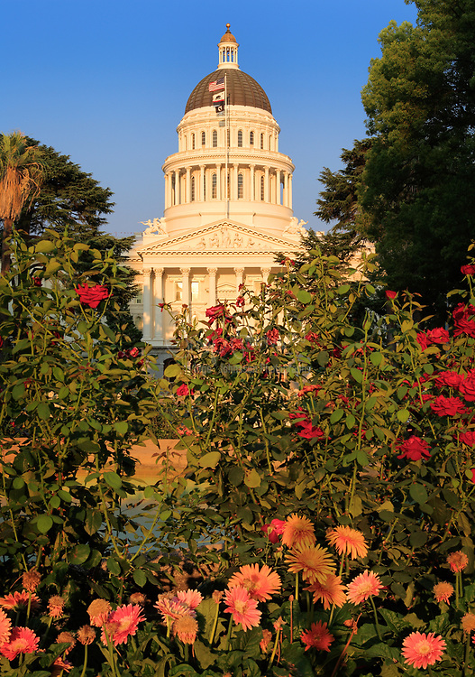The California State Capitol sits in Sacramento, California, at the west end of Capitol Park. The grounds are framed by L Street to the north, N Street to the south, 10th Street to the west, and 15th Street to the east. The Capitol houses the California State Legislature and the Office of the Governor of California. The building was constructed in the Neoclassical architectural style between 1861 and 1874 and is listed on the National Register of Historic Places as of 1973.