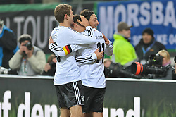 15.11.2011, Imtech Arena, Hamburg, GER, FSP, Deutschland (GER) vs Holland (NED), im Bild Mesut Oezil (Özil GER #08) schiesst das 3-0 und jubelt mit Thomas Mueller (Müller GER #13) und Miroslav Klose (GER #11) // during the Match Gemany (GER) vs Netherland (NED) on 2011/11/15,  Imtech Arena, Hamburg, Germany. EXPA Pictures © 2011, PhotoCredit: EXPA/ nph/ Witke..***** ATTENTION - OUT OF GER, CRO *****