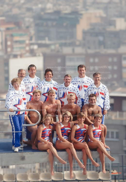 BARCELONA - JULY 24:  USA Olympic Team divers and team staff pose for a team photo on the 10 meter platform at the Piscina Municipal de Montjuic on July 24, 1992 just prior to the Summer Olympics in Barcelona, Spain; Diver in front row (L-R), are Karen LaFace, Julie Ovenhouse, Ellen, Owen, and Mary Ellen Clark; divers in second row (L-R)  are Scott Donie, Matthew Scoggin, Kent Feguson, Mark Lenzi.   (Photo by David Madison/Getty Images)