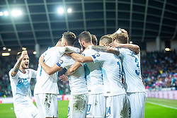 Player of Slovenian national team celebrating goal during the 2020 UEFA European Championships group G qualifying match between Slovenia and Poland at SRC Stozice on September 6, 2019 in Ljubljana, Slovenia. Photo by Grega Valancic / Sportida