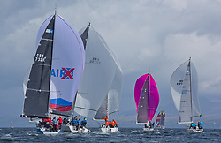 Pelle P Kip Regatta 2017 run by Royal Western Yacht Club at Kip Marina on the Clyde. <br /> <br /> RC35 Class downwind with Wildebeest, Triple Elf , Carmen and Animal<br /> <br /> Image Credit Marc Turner