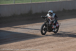 Freddie Bollwage (no. 8) on his hand-shift Harley-Davidson racer Spirit of Sturgis races at the fairgrounds during the Sturgis Black Hills Motorcycle Rally. Sturgis, SD, USA. Monday, August 5, 2019. Photography ©2019 Michael Lichter.