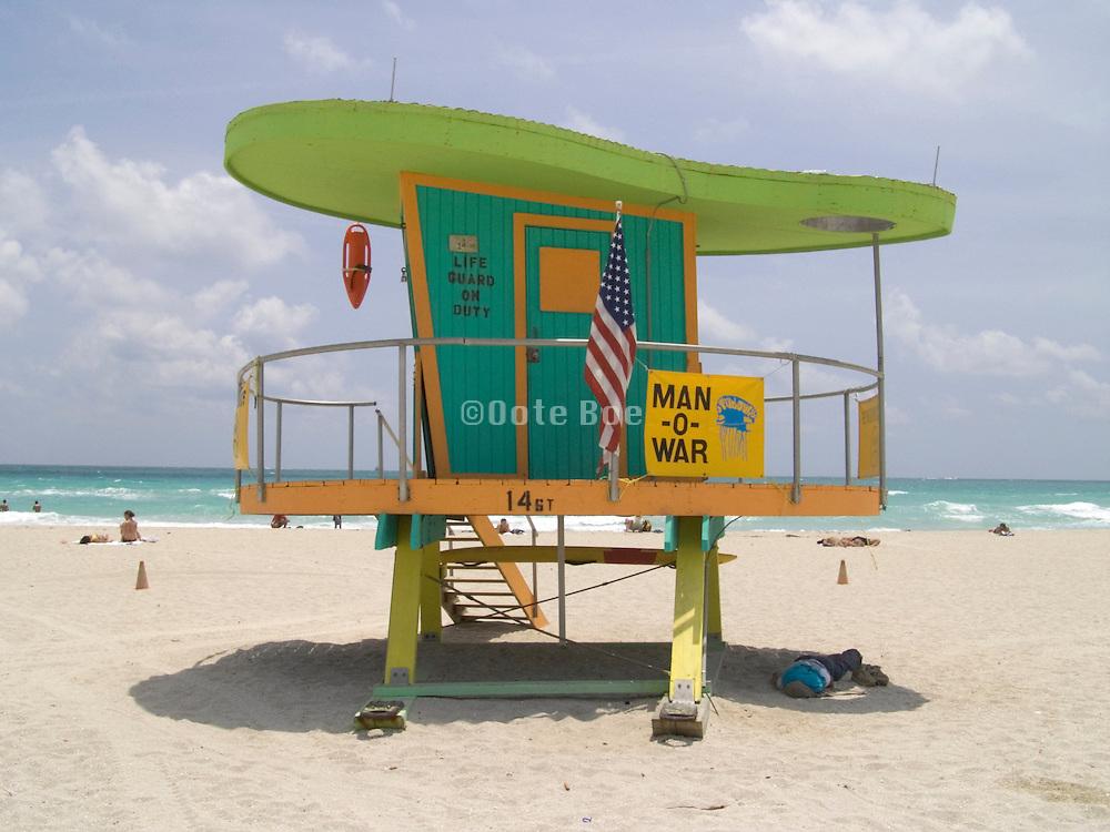LIFEGUARDS LOOKOUT SOUTH BEACH MIAMI FLORIDA USA