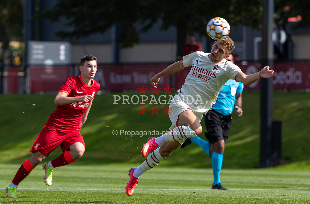 LIVERPOOL, ENGLAND - Wednesday, September 15, 2021: AC Milan's Luca Stanga during the UEFA Youth League Group B Matchday 1 game between Liverpool FC Under19's and AC Milan Under 19's at the Liverpool Academy. Liverpool won 1-0. (Pic by David Rawcliffe/Propaganda)