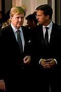 Nationale Herdenking voor de slachtoffers van vlucht MH17 in de RAI , Amsterdam.Vertrek van de gasten na afloop van de bijeenkomst<br /> <br /> National Memorial for the victims of flight MH17 in the RAI, Amsterdam.VThe guests leave after the meeting<br /> <br /> Op de foto / On the photo: <br /> <br />  Koning Willem-Alexander en minister-president Mark Rutte  / King Willem-Alexander and Prime Minister Mark Rutte