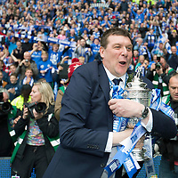 St Johnstone v Dundee United....William Hill Scottish Cup Final<br /> Tommy Wright keeps a firm grip on the Scottish Cup<br /> Picture by Graeme Hart.<br /> Copyright Perthshire Picture Agency