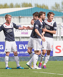 Falkirk's Conor McGrandles celebrates after scoring their second goal.<br /> half time : Falkirk 2 v 1 Raith Rovers, Scottish Championship game played today at The Falkirk Stadium.<br /> © Michael Schofield.