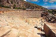 Pictures & images of the ancient Roman ampitheatre  of Myra, Anatolia, Turkey. .<br /> <br /> If you prefer to buy from our ALAMY PHOTO LIBRARY  Collection visit : https://www.alamy.com/portfolio/paul-williams-funkystock/myra-lycian-tombs-turkey.html<br /> <br /> Visit our CLASSICAL WORLD HISTORIC SITES PHOTO COLLECTIONS for more photos to download or buy as wall art prints https://funkystock.photoshelter.com/gallery-collection/Classical-Era-Historic-Sites-Archaeological-Sites-Pictures-Images/C0000g4bSGiDL9rw