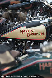 Bikes on display at the hosted dinner stop at Hells Canyon Harley-Davidson in Lewiston, Idaho after Stage 14 - (284 miles) of the Motorcycle Cannonball Cross-Country Endurance Run, which on this day ran from Meridian to Lewiston, Idaho, USA. Friday, September 19, 2014.  Photography ©2014 Michael Lichter.