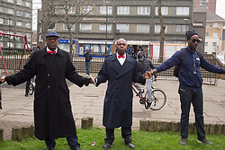 © Licensed to London News Pictures. 13/04/2018. London, UK.  Local people gather in Kilburn, North London under the Guiding A New Generation, known as G.A.N.G., banner to call for an end to the wave of violence across London. Photo credit  :  Thabo Jaiyesimi/LNP