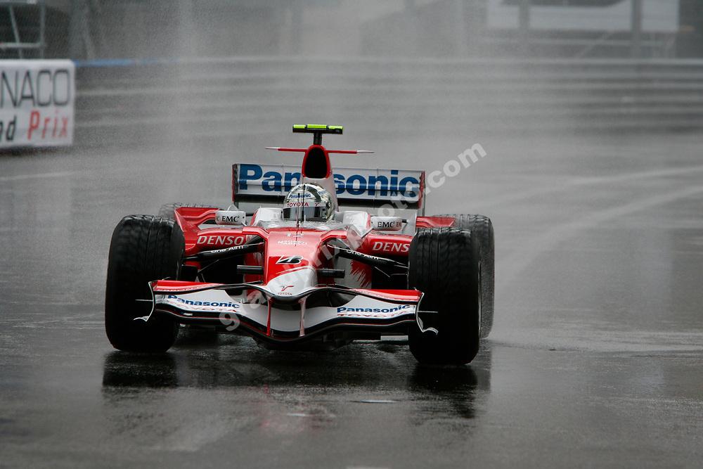 Jarno Trulli (Toyota) in the wet Saturday practice session before the 2007 Monaco Grand Prix. Photo: Grand Prix Photo