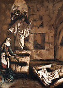 Jesus raising Lazarus from the tomb. Illustration by JJ Tissot for his 'Life of Our Saviour Jesus Christ' 1897. Oleograph