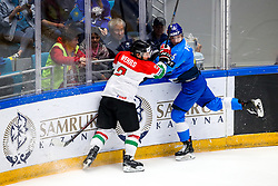 Kevin Wehrs of Hungary and Yegor Petukhov of Kazakhstan during ice hockey match between Kazakhstan and Hungary at IIHF World Championship DIV. I Group A Kazakhstan 2019, on May 5, 2019 in Barys Arena, Nur-Sultan, Kazakhstan. Photo by Matic Klansek Velej / Sportida