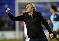 Wycombe Wanderers Manager, Gareth Ainsworth salutes the fans at the end of the match - Photo mandatory by-line: Richard Martin-Roberts/JMP - Mobile: 07966 386802 - 03/03/2015 - SPORT - football - Tranmere - Prenton Park - Tranmere Rovers v Wycombe Wanderers - Sky Bet League Two