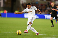Jefferson Montero of Swansea city in action. Barclays Premier league match, Swansea city v Leicester city at the Liberty stadium in Swansea, South Wales on Saturday 25th October 2014<br /> pic by Andrew Orchard, Andrew Orchard sports photography.