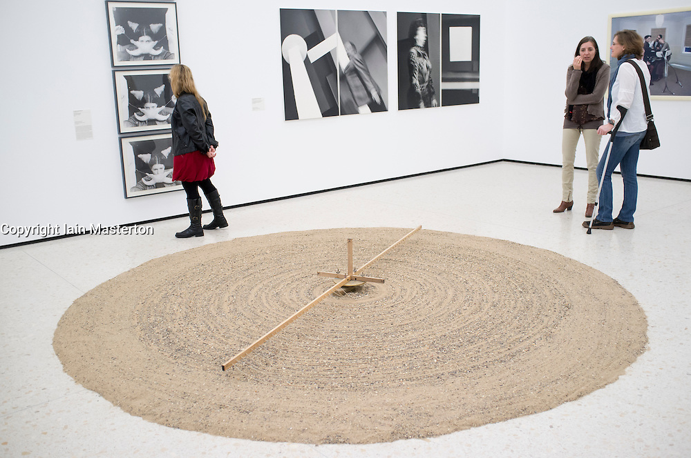 Sculpture Sandmill by Gunther Uecker  at new contemporary  art museum or GEGENWARTSKUNST at Stadel museum in Frankfurt Germany